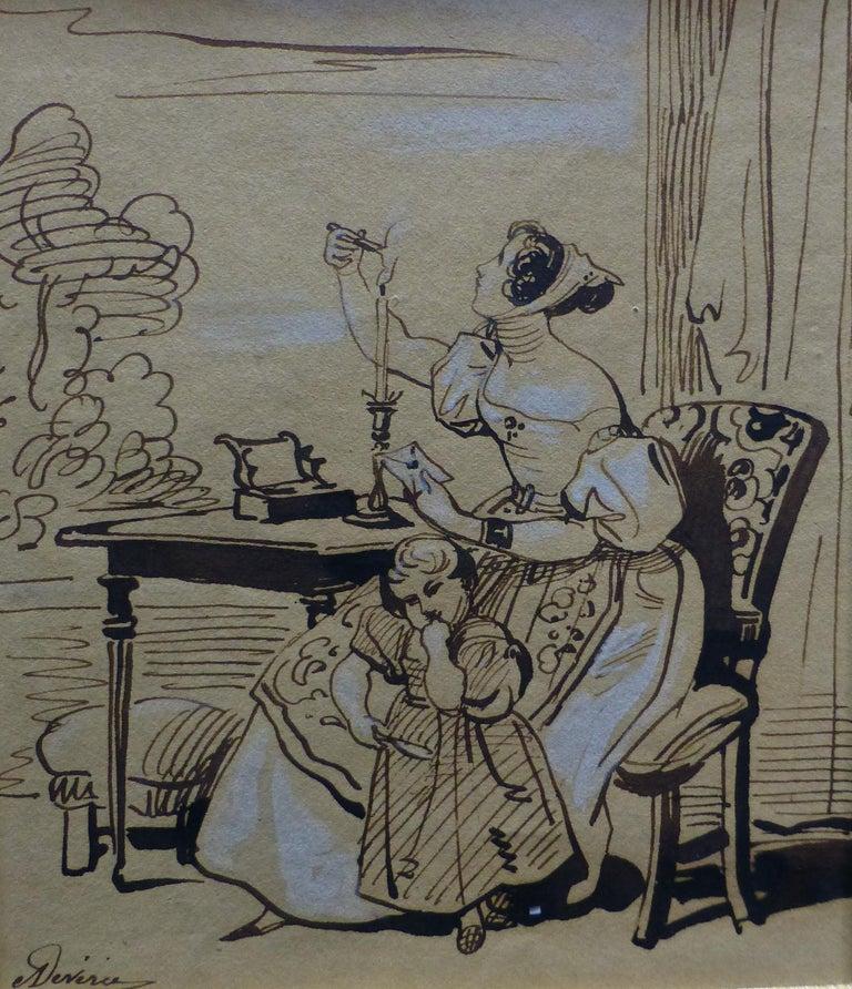 Achille Devéria (1800-1859) The Stamped Letter, Original Drawing - Art by Achille Devéria