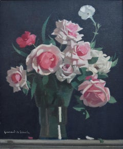 Guirand de Scevola  (1871-1950) Vase of roses on a black background, 1944