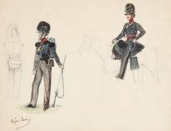 Eugène Lami (1800-1890)  Studies of a horseman and soldiers  Watercolor