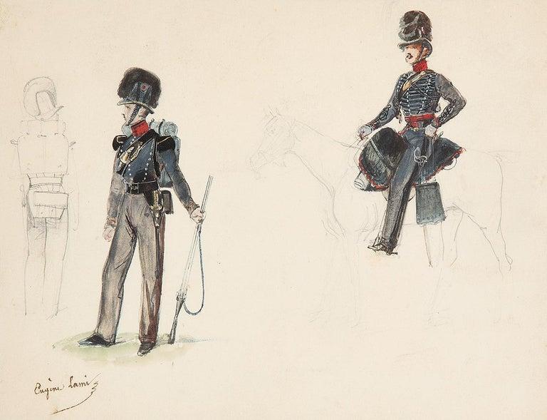 Eugene Louis Lami Figurative Art - Eugène Lami (1800-1890)  Studies of a horseman and soldiers  Watercolor