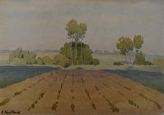 Charles-Victor Guilloux (1866-1946)  Landscape with poplars  Watercolor