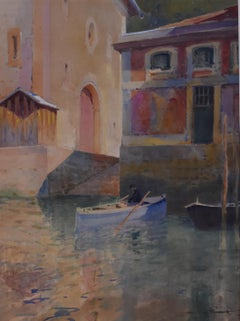 Paul Emile Lecomte (1877-1950)  A Canal in Venice, watercolor