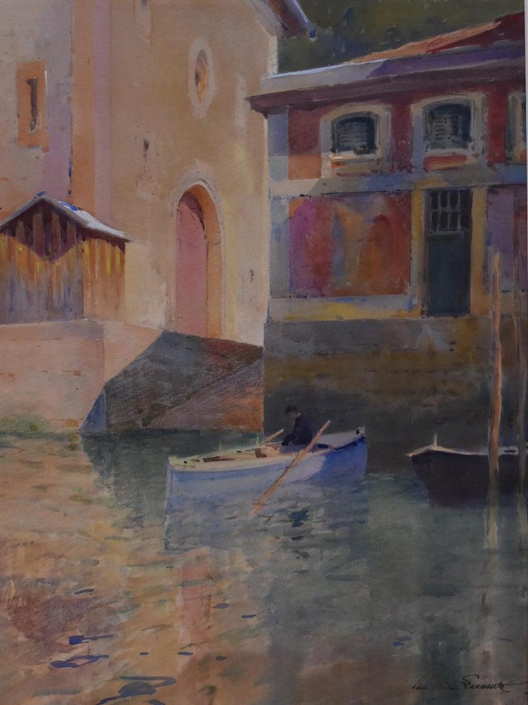 Paul Emile Lecomte (1877-1950)  A Canal in Venice, watercolor - Art by Paul Emile Lecomte