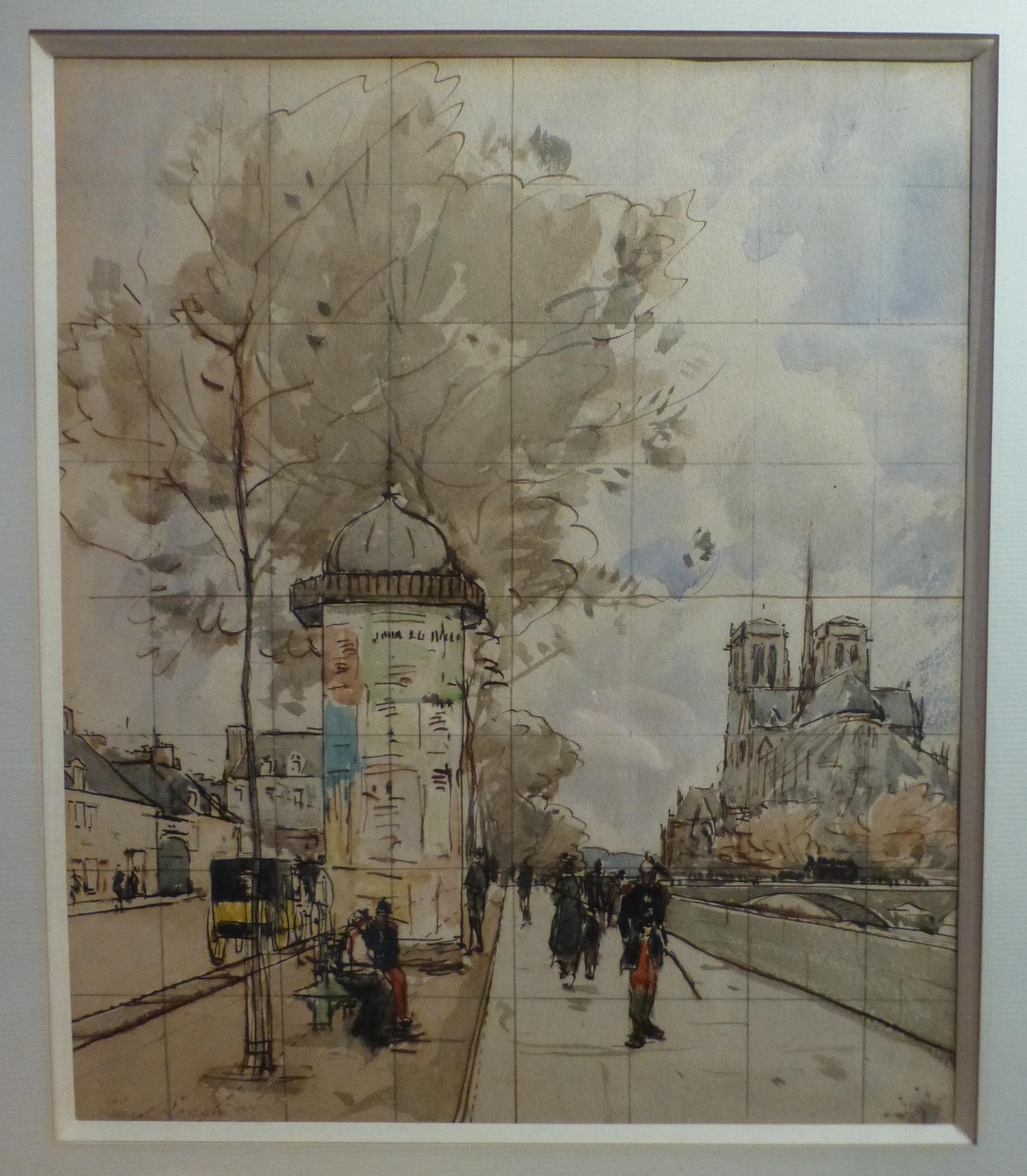 Paul Lecomte (1842-1920) Paris, Notre Dame et les quais, watercolor
