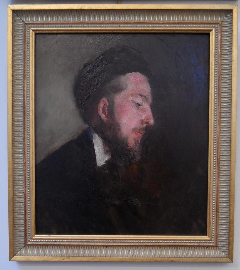 Paul Tavernier (1852-1943) Portrait of a Young Man, Oil On panel - Academic Painting by Paul Tavernier