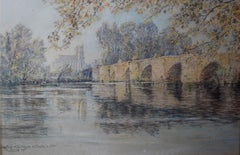 Charles Jouas (1866-1942) The Old Bridge And The Collegiate Of Mantes, Pastel