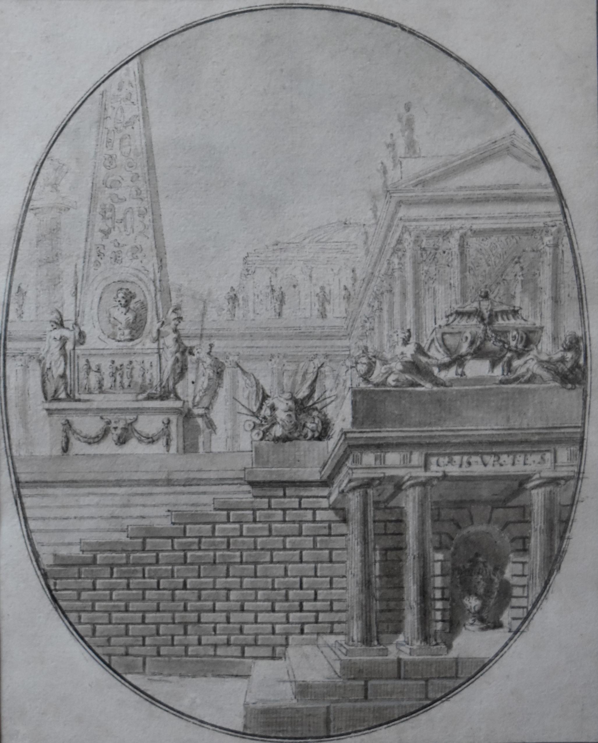 France 18th century,  Architectural Capriccio, original drawing