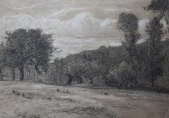 Charles-Emile Jacque (1813-1894) La Prairie, drawing