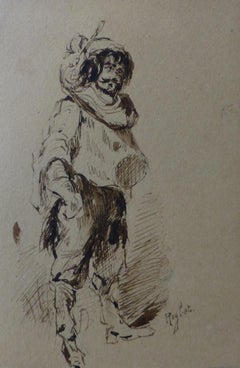Ferdinand Roybet (1840-1920) A Musketeer, study, Drawing in its original frame