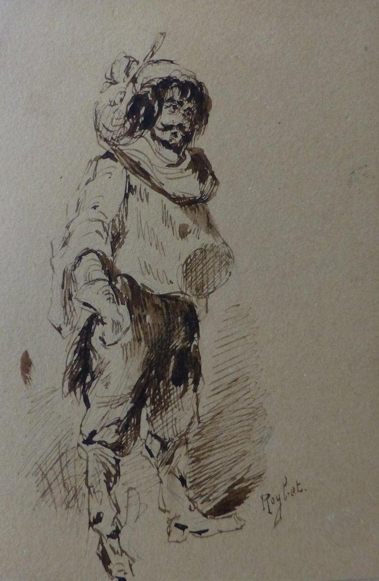 Ferdinand Roybet (1840-1920) A Musketeer, study, Drawing in its original frame - Art by Ferdinand Roybet