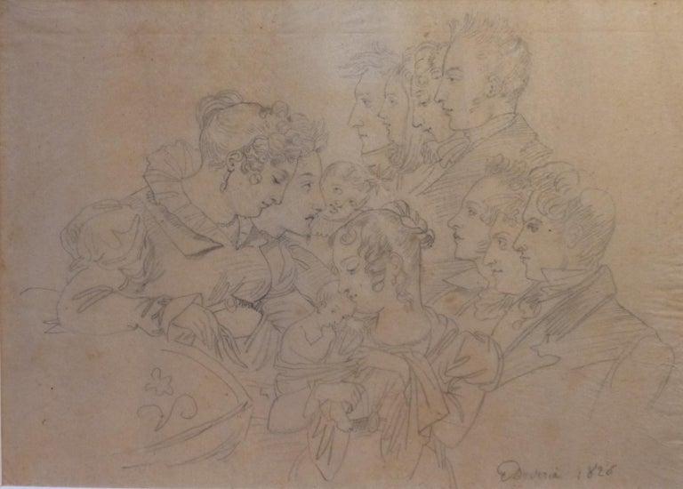 Eugène Devéria (1808-1826) Family Portrait, 1826  Drawing - Art by Eugene Deveria