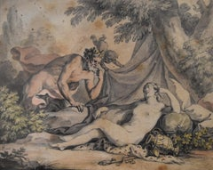 Antoine Borel (1743-1810), A sleeping Nymph and a Satyr, watercolor
