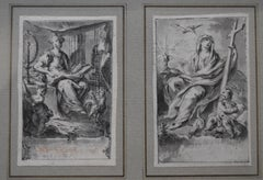 H F Gravelot, Two Allegories, Faith and Vigilance, Pen and Ink