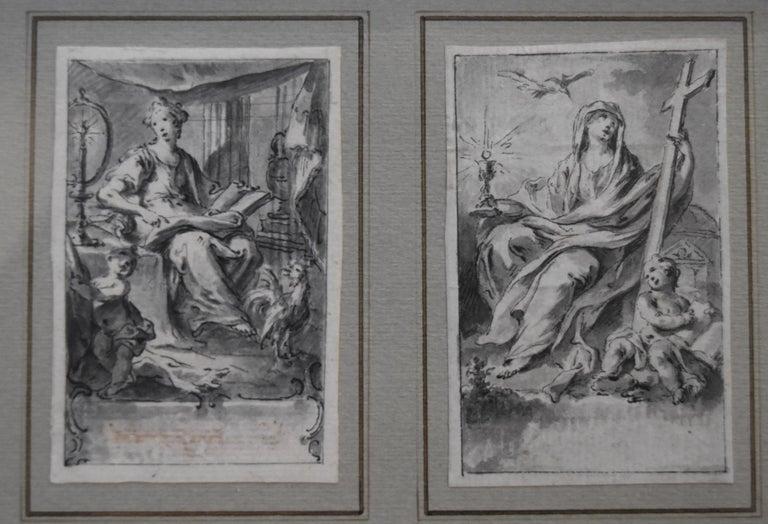 Hubert-François Gravelot Figurative Art - H F Gravelot, Two Allegories, Faith and Vigilance, Pen and Ink