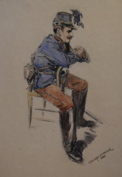 Edouard Detaille (1848-1912) A sitting Hussar, signed and dated 1884, Watercolor