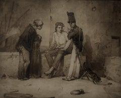 Alexandre Gabriel Decamps (1803-1860)  Sailors & soldier, a Port scene, Drawing