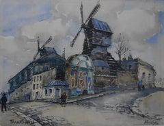 Frank-Will (1900-1950) Le Moulin de la Galette, Montmartre, Paris, Watercolor