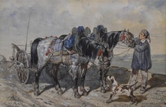 French school, 1840, A Peasant and his carriage, wartercolor, signed