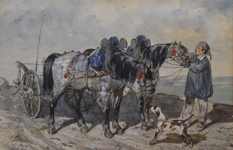 Unknown Animal Art - French school, 1840, A Peasant and his carriage, wartercolor, signed