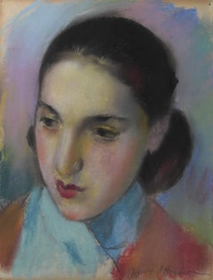Henri Ottman (1877-1927) , A Young Girl in red and blue,  pastel