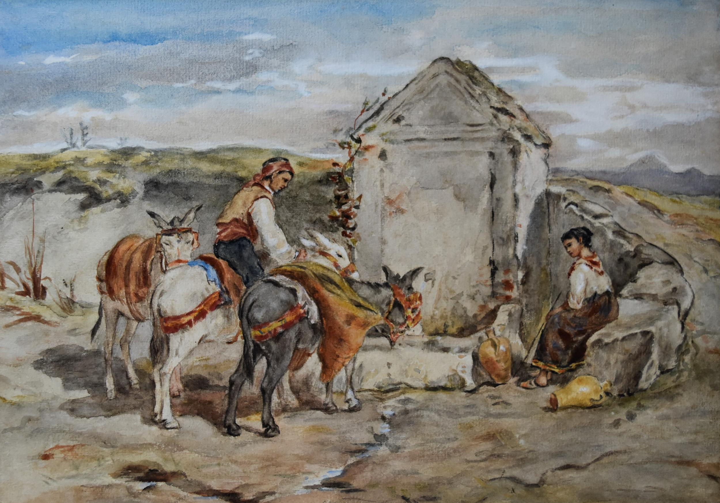 France 19th Century,  Peasants and donkeys at the fountain in Italy, watercolor