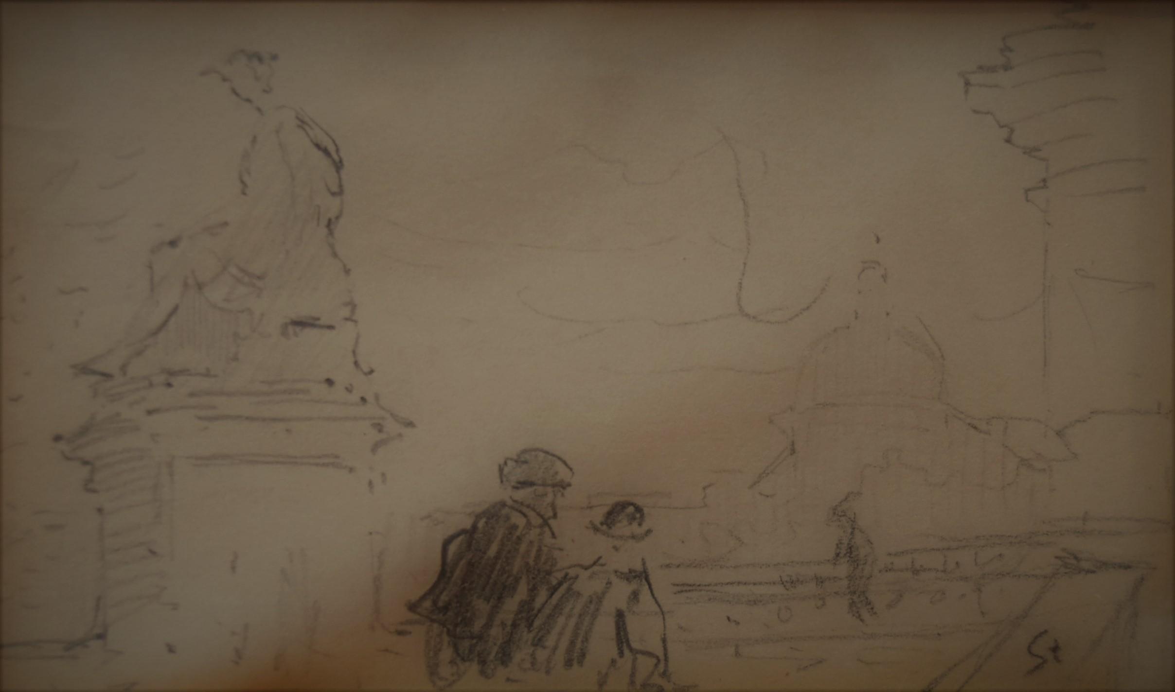 Theophile Alexandre Steinlen (1859-1923) Two men, a parisian scene, drawing