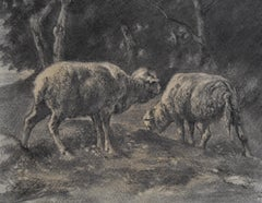 Charles-Emile Jacque (1813-1894) Two sheeps in the countryside, charcoal drawing