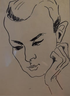 France 1930, Portrait of a young man, Ink drawing