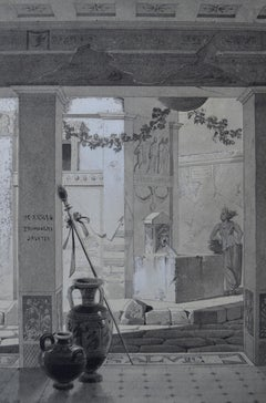 French Romantic School, View of a roman atrium, drawing