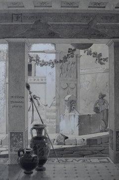 French Romantic School, View of a roman atrium, drawing