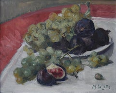Marguerite De Lottis, Still Life with grapes and figs, Oil on wooden panel