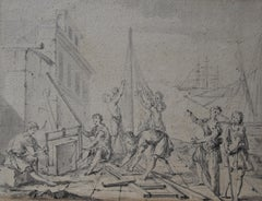 French School Of The 18th century, An Ancient Shipyard, Drawing