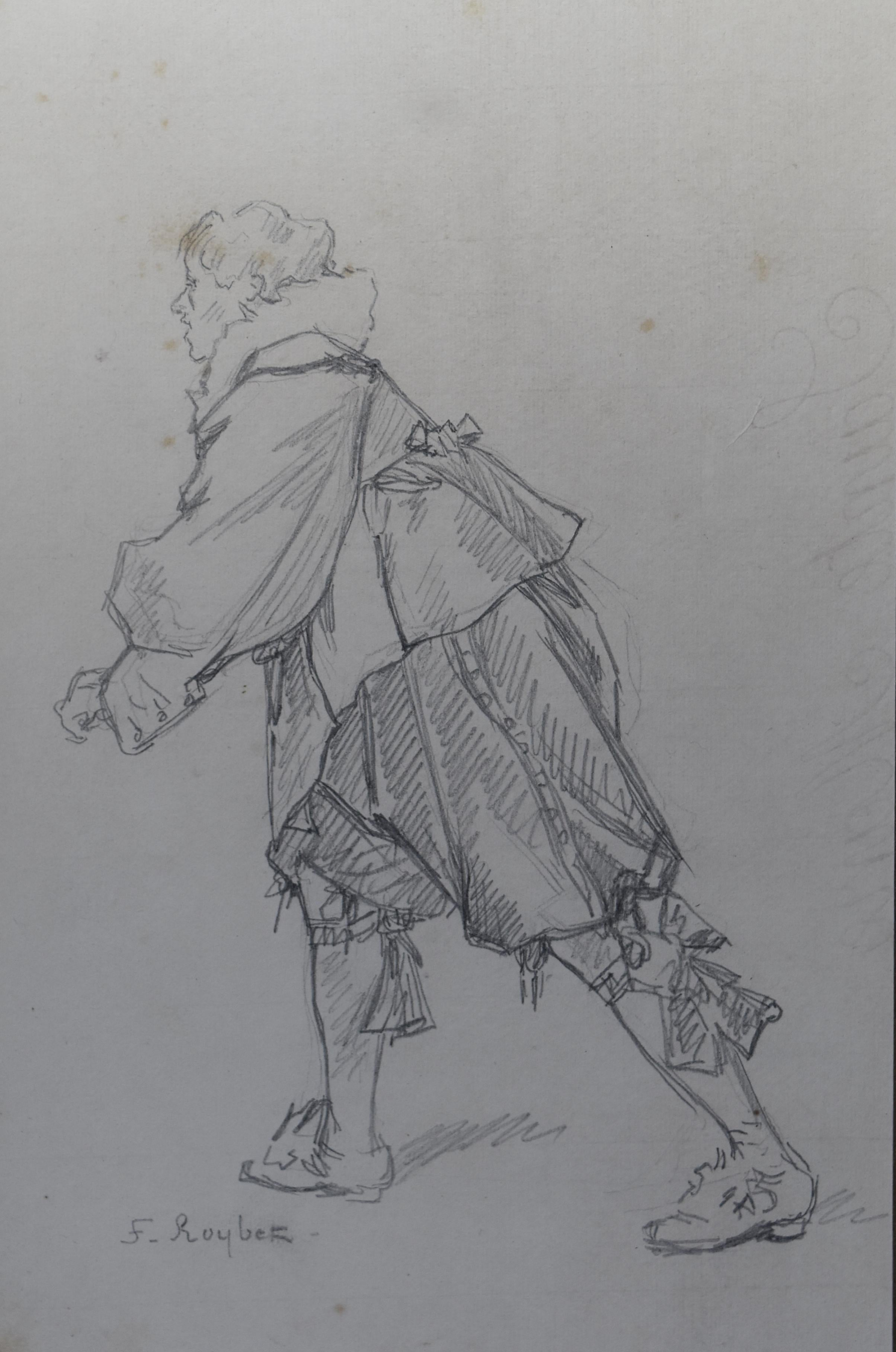 French School 19th Century, A Muskeeter, original pencil drawing