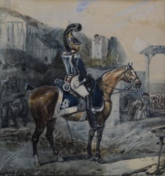 Attributed to Eugene Lami, a Hussar on his horse, watercolor