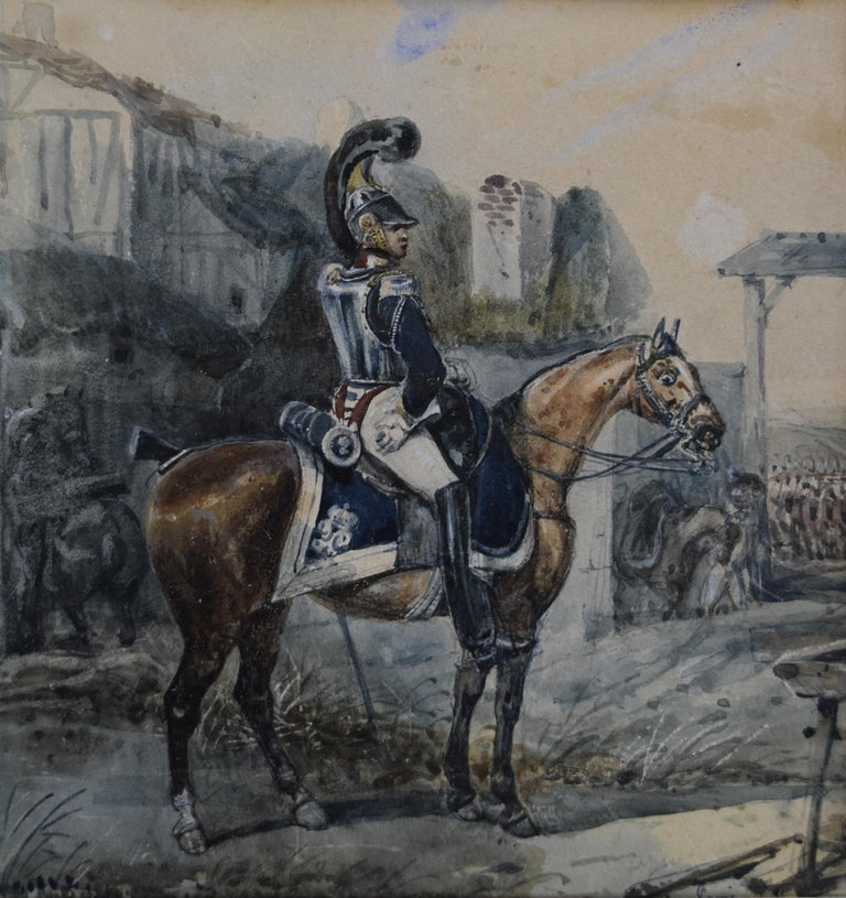 Unknown Portrait - Attributed to Eugene Lami, a Hussar on his horse, watercolor