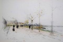 Luigi Loir (1845-1916) The Walk along the river, 1883, watercolor signed