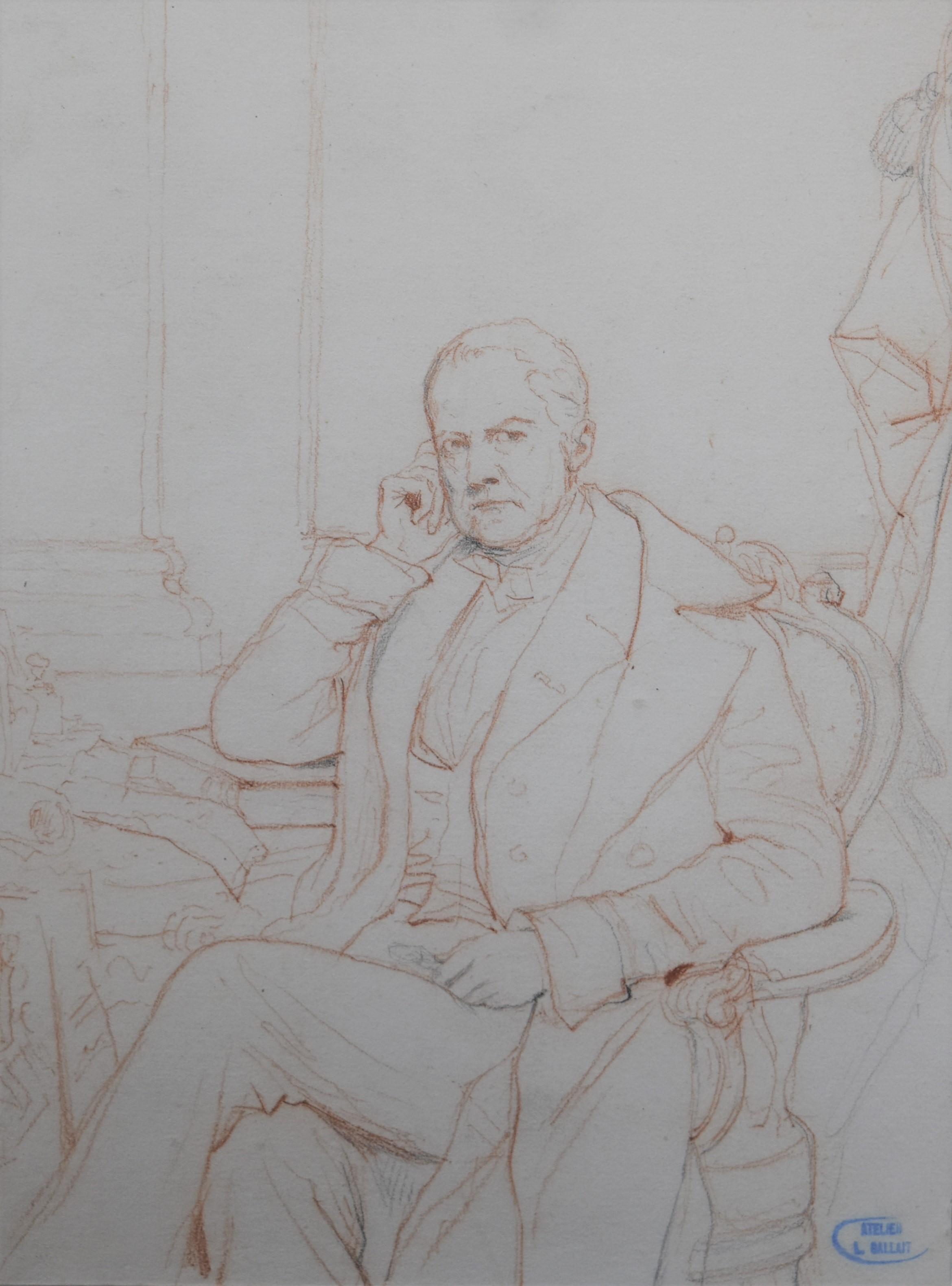 Louis Gallait (1810-1887) Portrait of a Gentleman, red chalk on paper