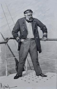 Felician Myrbach (1853-1940) Le Capitaine Scrapouchinat, Ink drawing