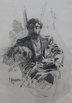 Felix Alarcon (1840-1905) Portrait of a man, original drawing