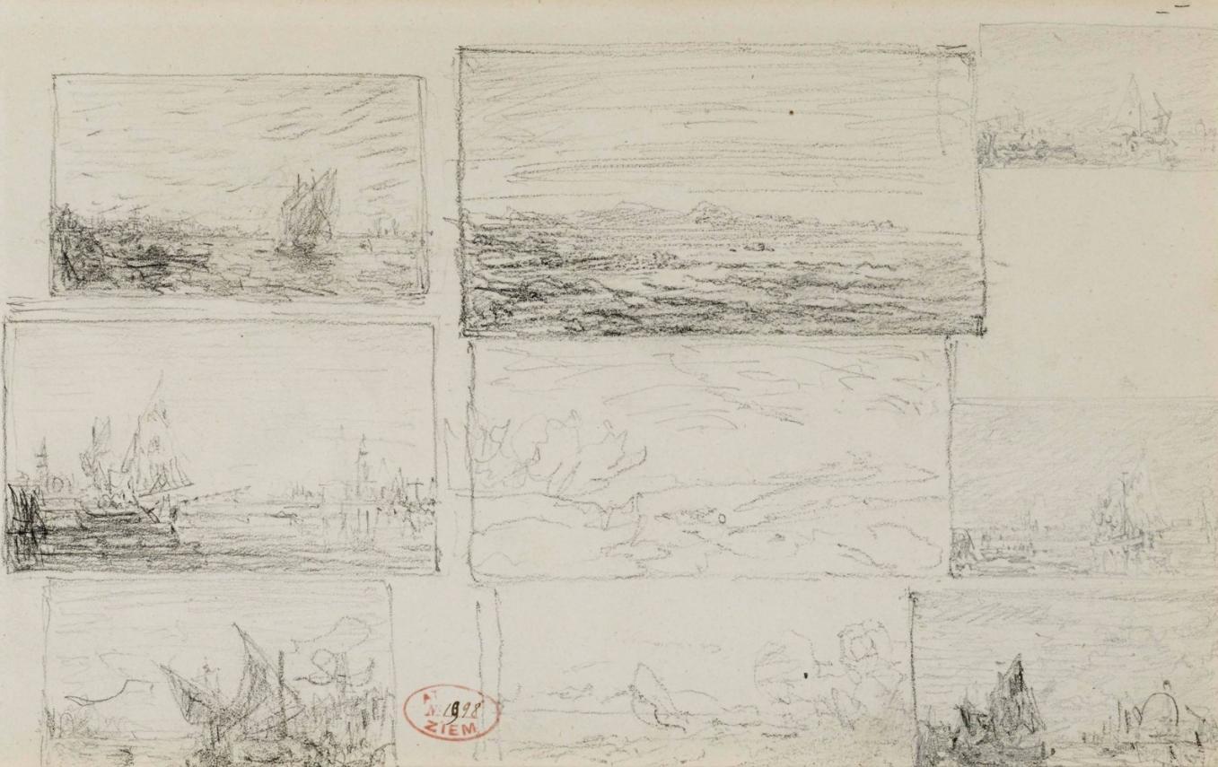 Félix Ziem (1821-1911) Studies of Landscapes and Seascapes, original Drawing