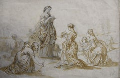 France 19the Century, A Lady and her maids of honour , original drawing
