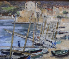 Gustave Assire (1870-1941) Boats in Colllioure, oil on panel