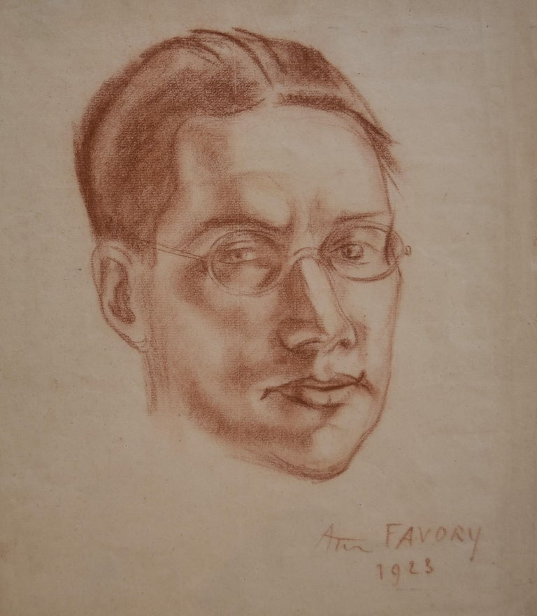 """André Favory (1889-1937)  Portrait of the poet Jacques Portail, 1923,  red chalk on paper Signed and dated on the lower right Titled on the reverse of the sheet with pencil (see pictures) """"Portrait de J Portail pour Porte-Voix"""" In its original frame"""