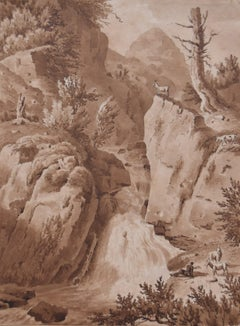 France early 19th Century, A waterfall landscape , original drawing