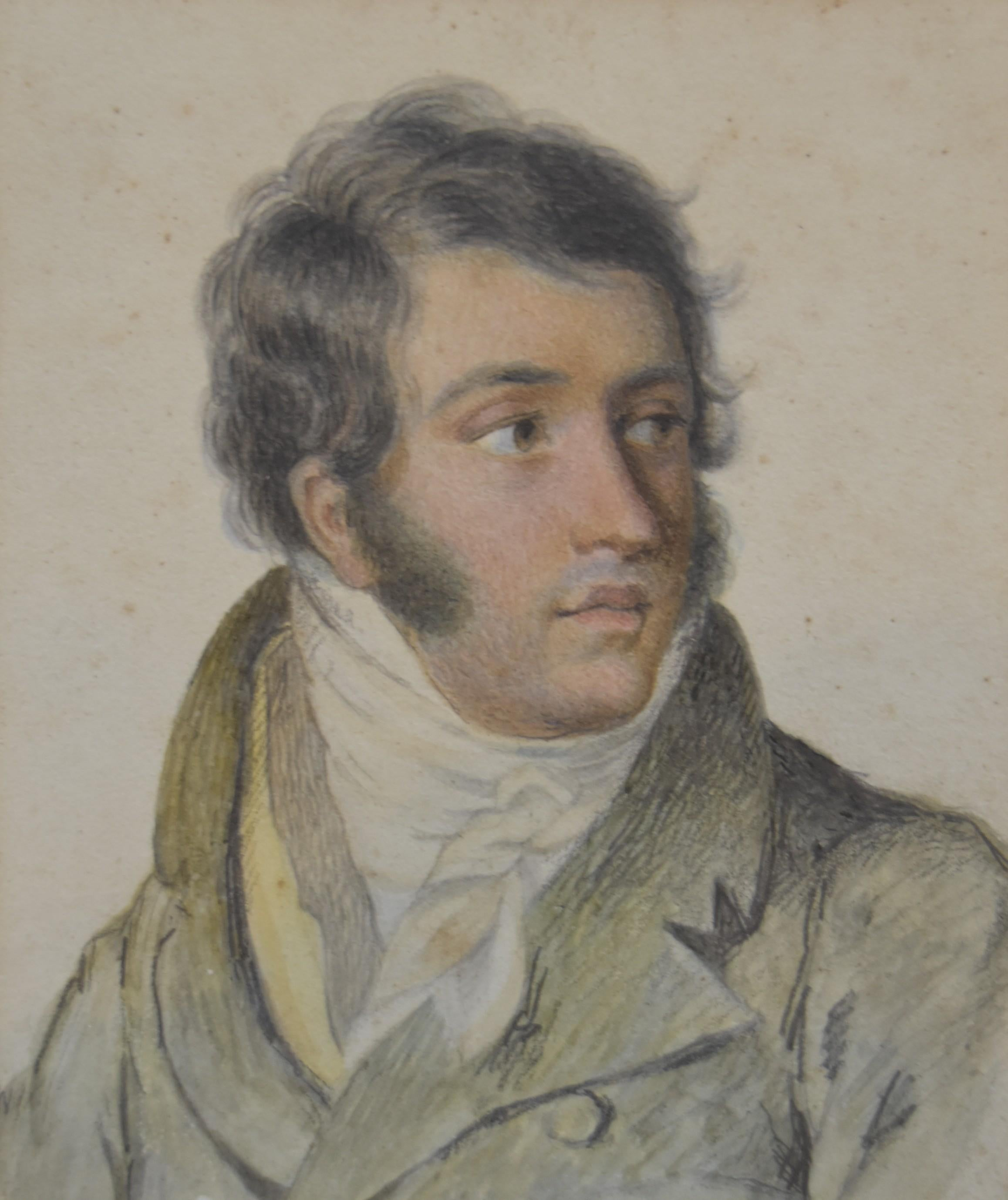 France circa 1820, Portrait of a gentleman, black chalk and pastel drawing