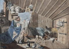 France 19th century, The Bohème artist in his workshop, watercolor