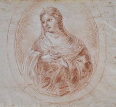 18th Century, Portrait of a Lady in a Tondo, red chalk drawing
