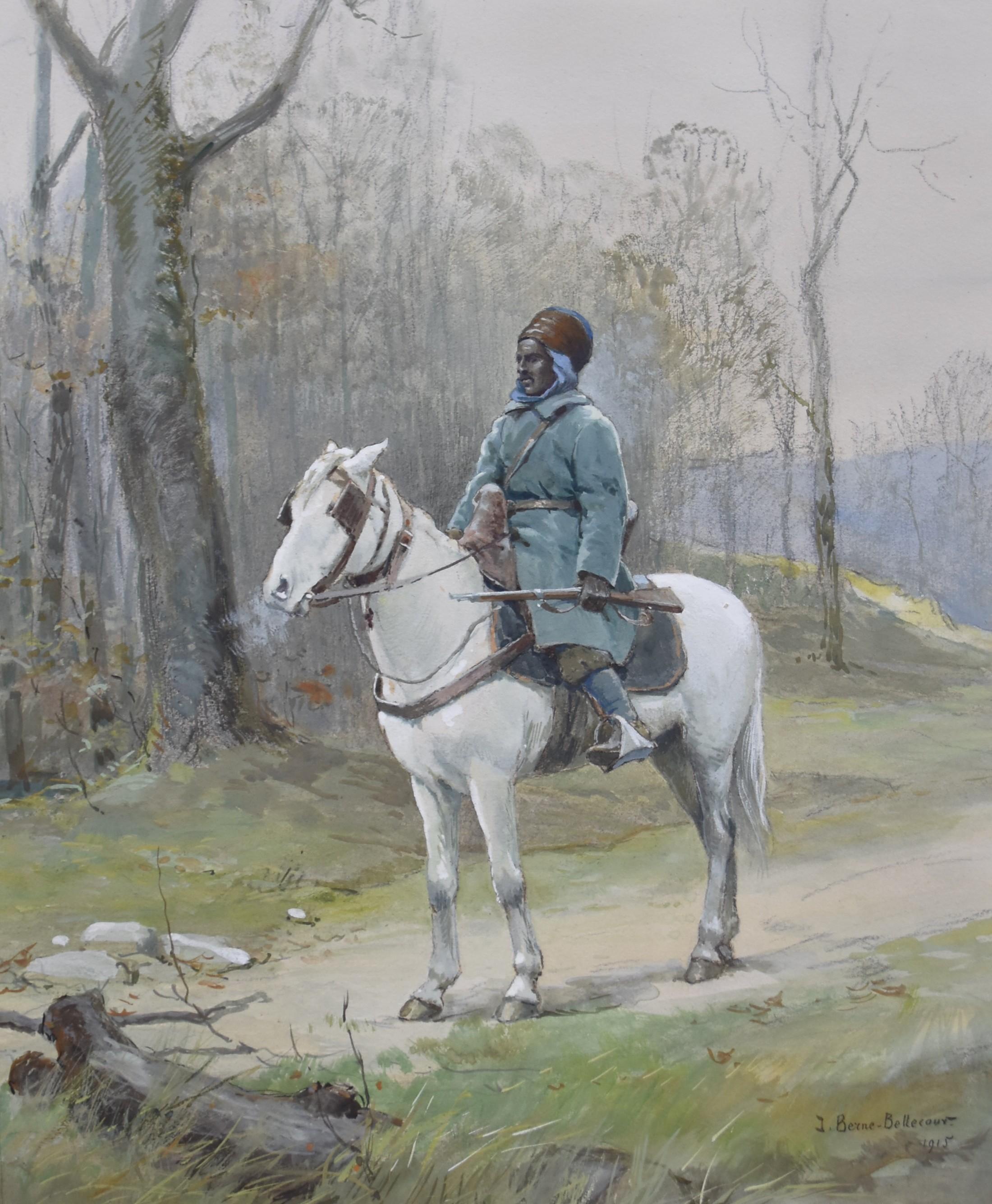 J.Jacques Berne-Bellecour (1874-1939), North African Horseman, 1915, watercolor