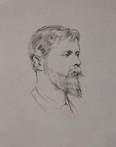Theodore Blake Wirgman (1848-1925)  Portrait of Ernest Albert Waterlow, drawing