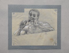 Georges Antoine Rochegrosse (1859-1938) A flute player, original drawing